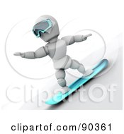 Royalty Free RF Clipart Illustration Of A 3d White Character Snowboarding Version 1