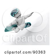 Royalty Free RF Clipart Illustration Of A 3d White Character Snowboarding Version 2 by KJ Pargeter