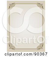 Royalty Free RF Clipart Illustration Of An Ornate Border Of Beige With Flourished Corners Around White Space