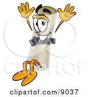 Clipart Picture Of A Diploma Mascot Cartoon Character Jumping