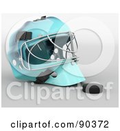 Royalty Free RF Clipart Illustration Of A 3d Ice Hockey Goalie Helmet And Puck