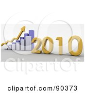 Royalty Free RF Clipart Illustration Of A 3d Blue Bar Graph Showing Profit In 2010 by KJ Pargeter