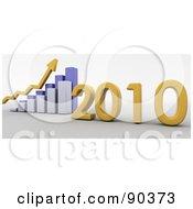 3d Blue Bar Graph Showing Profit In 2010