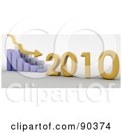 Royalty Free RF Clipart Illustration Of A 3d Blue Bar Graph Showing Loss In 2010 by KJ Pargeter