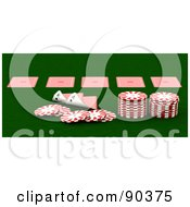 Royalty Free RF Clipart Illustration Of A 3d Casino Scene Of Playing Cards And Poker Chips On Green by KJ Pargeter