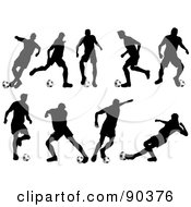 Royalty Free RF Clipart Illustration Of A Digital Collage Of Silhouetted Soccer Players With Balls by KJ Pargeter
