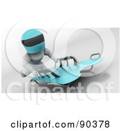 Royalty Free RF Clipart Illustration Of A 3d White Character On A Skeleton Bobsleigh Version 1