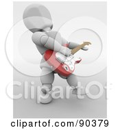 Royalty Free RF Clipart Illustration Of A 3d White Character Playing An Electric Guitar