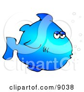 Blue Marine Fish With Bubbles Clipart Illustration
