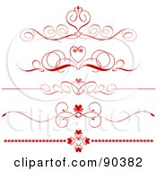 Royalty Free RF Clipart Illustration Of A Digital Collage Of Five Red Ornate Heart Divider Headers by KJ Pargeter