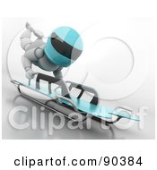 Royalty Free RF Clipart Illustration Of A 3d White Character On A Skeleton Bobsleigh Version 2