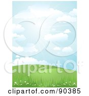 Royalty Free RF Clipart Illustration Of A Sunny Day Time Landscape Of Hills Grass And Flowers Under A Blue Sky by KJ Pargeter