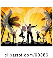 Royalty Free RF Clipart Illustration Of Silhouetted Dancers Against An Orange Sunset On A Beach