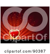 Royalty Free RF Clipart Illustration Of A Valentines Day Background Of A Red Heart Over A Starry Red Burst On Black