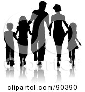 Royalty Free RF Clipart Illustration Of A Black Silhouetted Family Of Five Walking And Holding Hands by KJ Pargeter