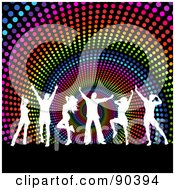 Royalty Free RF Clipart Illustration Of White Silhouetted Dancers Over A Rainbow Halftone Spiral Background
