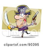 Royalty Free RF Clipart Illustration Of A Peg Leg Pirate Balancing And Holding Up A Sword And Pistol by Hit Toon
