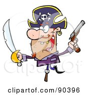 Royalty Free RF Clipart Illustration Of A Pirate Holding Up A Sword And Pistol And Balancing On His Peg Leg by Hit Toon