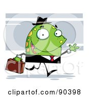 Royalty Free RF Clipart Illustration Of A Friendly Toon Monster Businessman In A Black Suit by Hit Toon