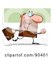 Royalty Free RF Clipart Illustration Of A Businses Toon Man In A Brown Plaid Suit Carrying A Briefcase