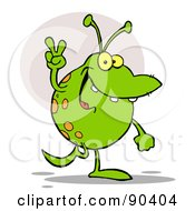 Royalty Free RF Clipart Illustration Of A Peaceful Spotted Green Alien Walking