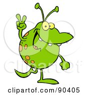 Royalty Free RF Clipart Illustration Of A Spotted Green Alien Smiling And Gesturing The Peace Sign