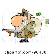 Tough Mobster Holding A Machine Gun And Money Sack