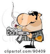 Tough Mobster Holding Two Machine Guns And Smoking A Cigar