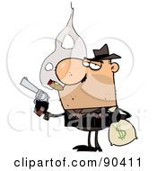 Royalty Free RF Clipart Illustration Of A Mobster Smoking A Cigar And Robbing A Bank by Hit Toon