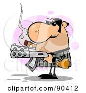 Tough Gangster Holding Two Machine Guns And Smoking A Cigar