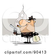 Royalty Free RF Clipart Illustration Of A Gangster Smoking A Cigar And Robbing A Bank by Hit Toon