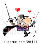 Royalty Free RF Clipart Illustration Of An Amorous Masked Man Holding A Sword And Swinging On A Rope by Hit Toon
