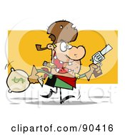 Royalty Free RF Clipart Illustration Of A Western Cowboy Running With A Pistol And Sack Of Money by Hit Toon