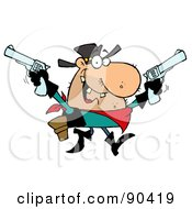 Royalty Free RF Clipart Illustration Of An Outlaw Cowboy Holding Up Two Pistols