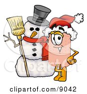 Bandaid Bandage Mascot Cartoon Character With A Snowman On Christmas by Toons4Biz