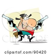 Royalty Free RF Clipart Illustration Of A Western Cowboy Holding Up Two Pistols by Hit Toon