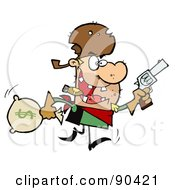 Royalty Free RF Clipart Illustration Of An Outlaw Cowboy Running With A Pistol And Sack Of Money