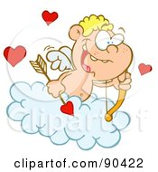 Energetic Blond Cupid In A Cloud Holding An Arrow And Gazing Out