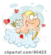 Blond Cupid On A Cloud Holding An Arrow And Gazing Out