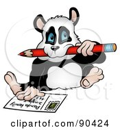 Royalty Free RF Clipart Illustration Of A Panda Biting A Pencil And Writing A Post Card