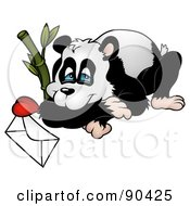 Panda Resting By Bamboo With A Love Letter