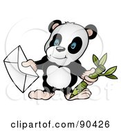 Royalty Free RF Clipart Illustration Of A Panda Bear Holding A Pencil And An Envelope