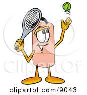 Bandaid Bandage Mascot Cartoon Character Preparing To Hit A Tennis Ball