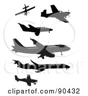 Royalty Free RF Clipart Illustration Of A Digital Collage Of Black Silhouetted Planes Over White by JR