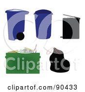 Royalty Free RF Clipart Illustration Of A Digital Collage Of Garbage Cans Bins Bags And A Recycle Bin by JR