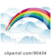 Royalty Free RF Clipart Illustration Of A Background Of A Sparkly Rainbow Over The Clouds by BNP Design Studio