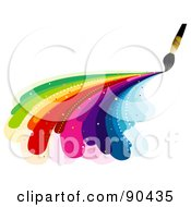 Royalty Free RF Clipart Illustration Of A Paintbrush Painting Rainbow Curves