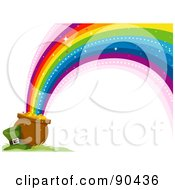 Royalty Free RF Clipart Illustration Of A Leprechaun Hat Resting Beside A Pot Of Gold And A Rainbow by BNP Design Studio