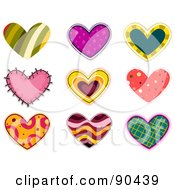 Digital Collage Of Colorful Heart Patches And Designs - Version 1