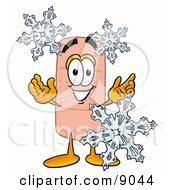 Clipart Picture Of A Bandaid Bandage Mascot Cartoon Character With Three Snowflakes In Winter by Toons4Biz